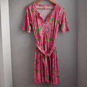 Lilly Pulitzer Silk Dress Size 4 Tie Belt